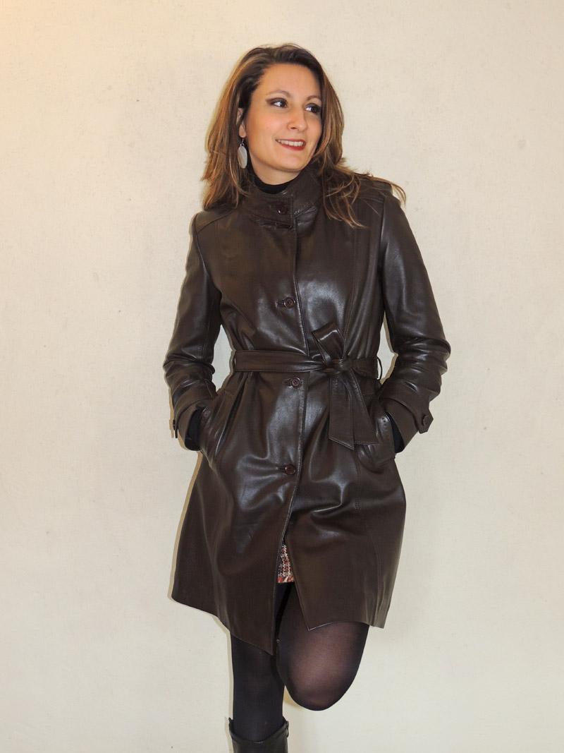 3 4 en cuir marron style trench avec ceinture pour femme 4922ed5f6b2