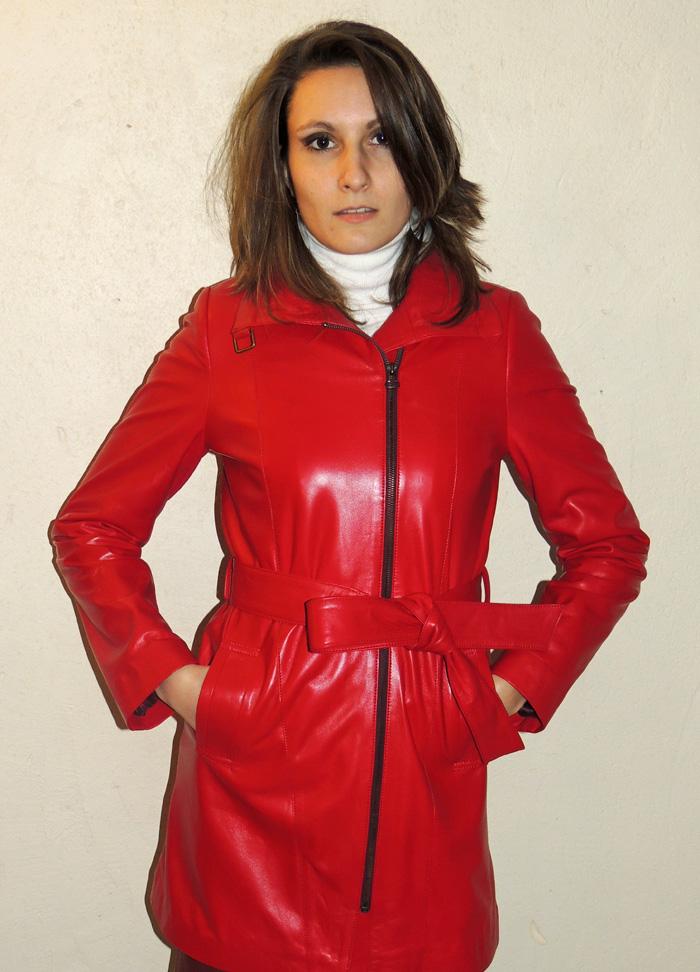 3 4 en cuir agneau rouge pour femme - Itinérance Cuir - Vêtements ... 65cf55ad558