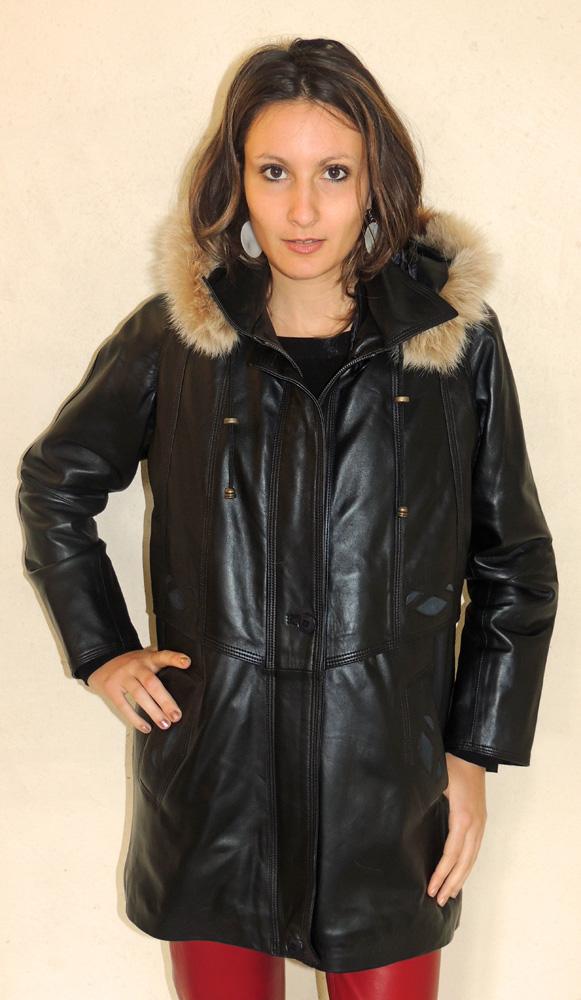 Manteau en cuir agneau noir pour femme - Itinérance Cuir - Vêtements ... 80dc28d2dff