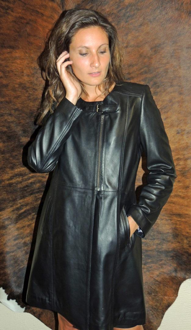 d2593e1c881ef1 Manteau en cuir agneau pour femme - Itinérance Cuir - Vêtements cuir ...