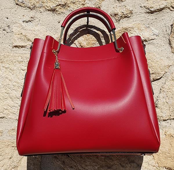 sac à main cuir rouge