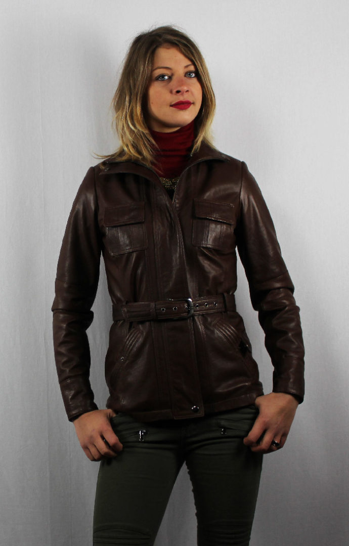 Veste en cuir marron avec ceinture pour femme 25b66a77b5e