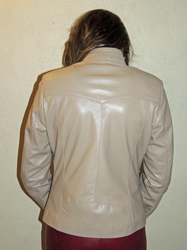 94e235eb32438 Blouson en cuir agneau beige pour femme - Itinérance Cuir ...