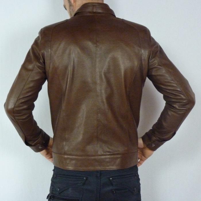 Blouson en cuir marron pour homme style motard e13715576bc