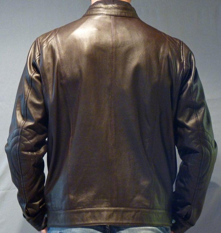 44d0bf236ab3 Blouson en cuir marron style moto pour homme