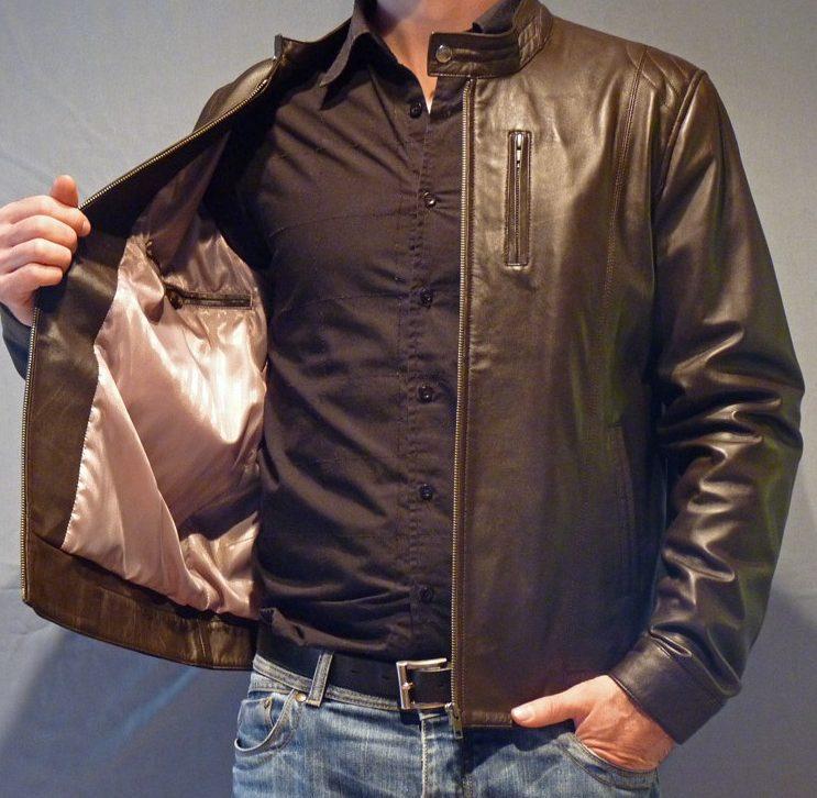 Blouson en cuir marron style moto pour homme 3f9e1207041