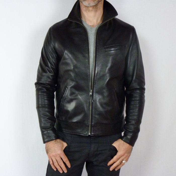 dabfaed537525 Blouson en cuir noir pour homme à 199 euros