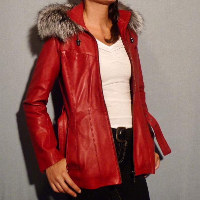 Veste femme en cuir agneau rouge hermès b4dec311196