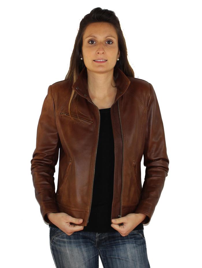 bas prix a810c 5424b Blouson femme en cuir marron