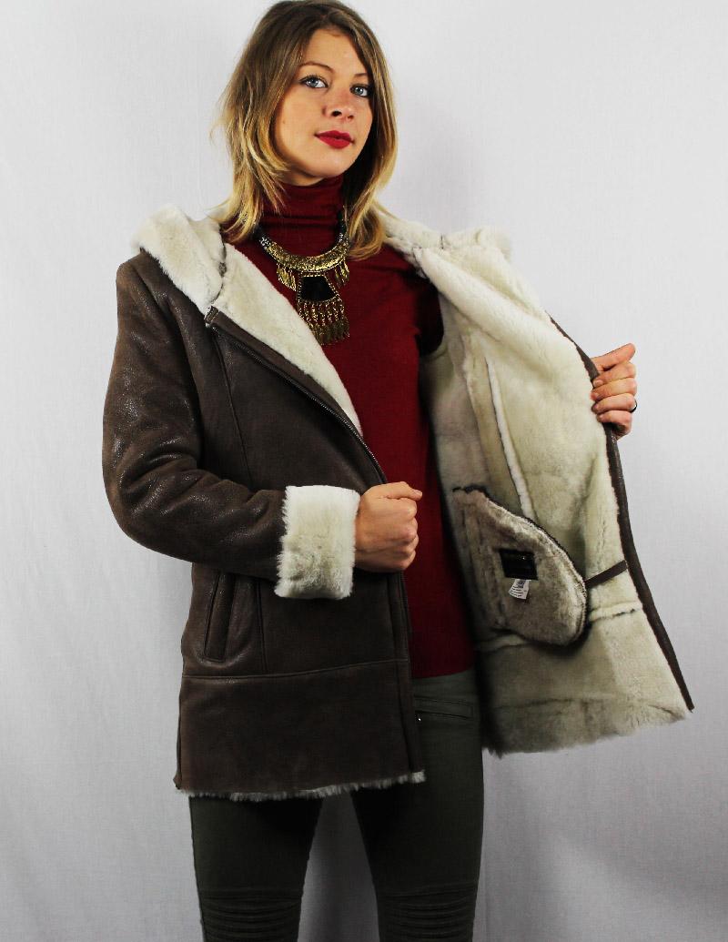 Veste en mouton retourné marron vieillie pour femme