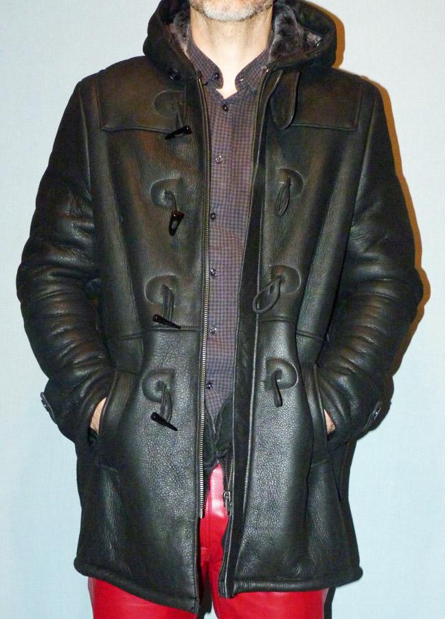 Duffle coat noir en peau lainée pour homme b6c8ce283cda