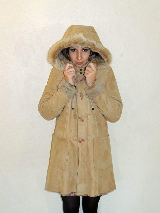design intemporel 05b18 e5b65 Duffle coat en mouton retourné beige pour femme