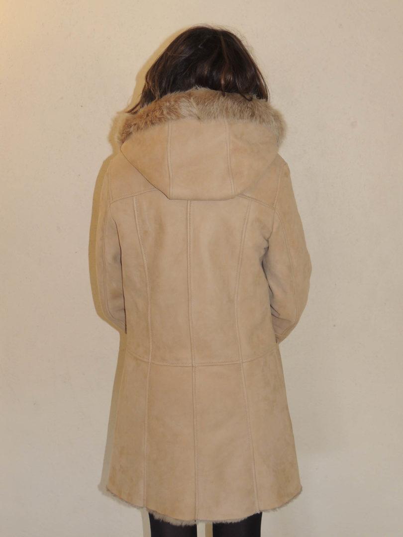 Duffle coat en mouton retourné beige pour femme