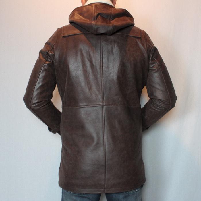 Duffle coat en cuir marron pour homme 677e8f12565e
