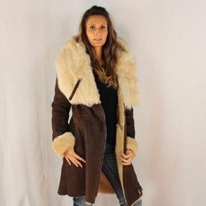 3/4 manteau en peau retournée pour femme