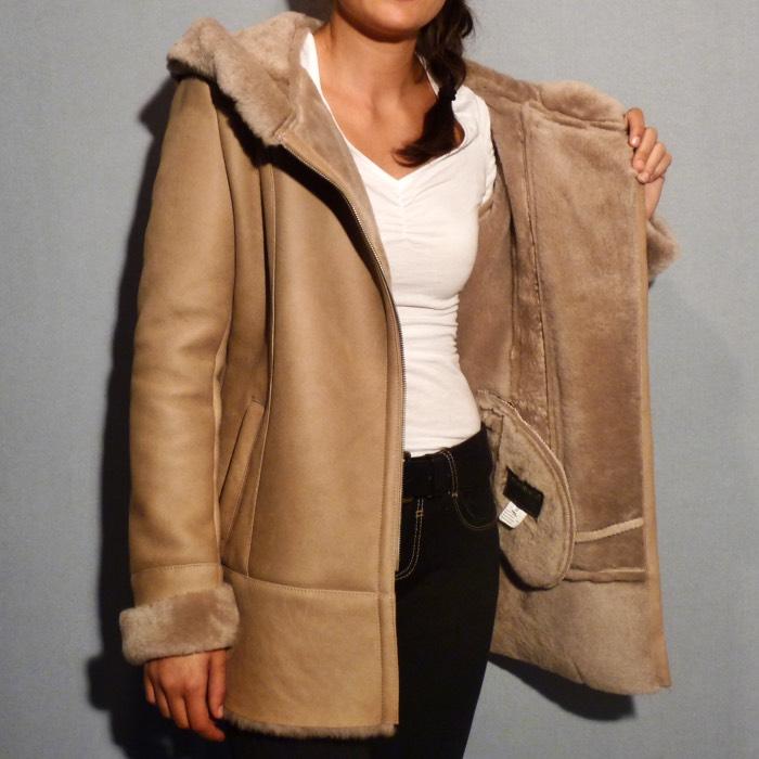 veste beige peau de mouton femme