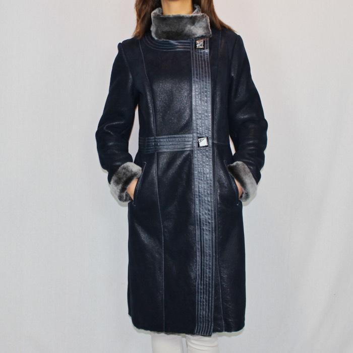ef4b0ca187f0ea Manteau en peau lainée bleu marine pour femme - Itinérance Cuir ...