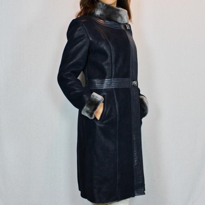 Marine Bleu Femme En Peau Lainée Manteau Pour kZPiuOXT