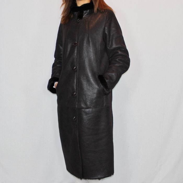Manteau peau retournee femme