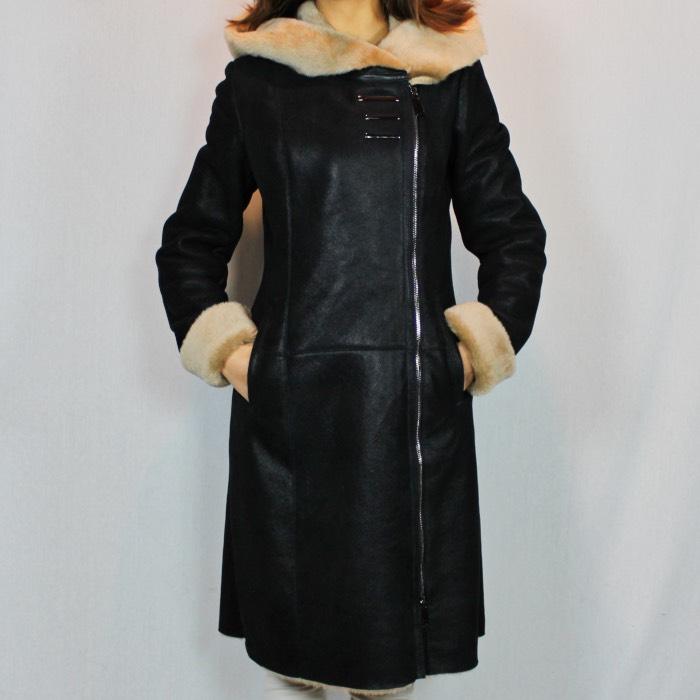 5929bccba7053 Manteau en peau retourné noir laine beige - Itinérance Cuir ...