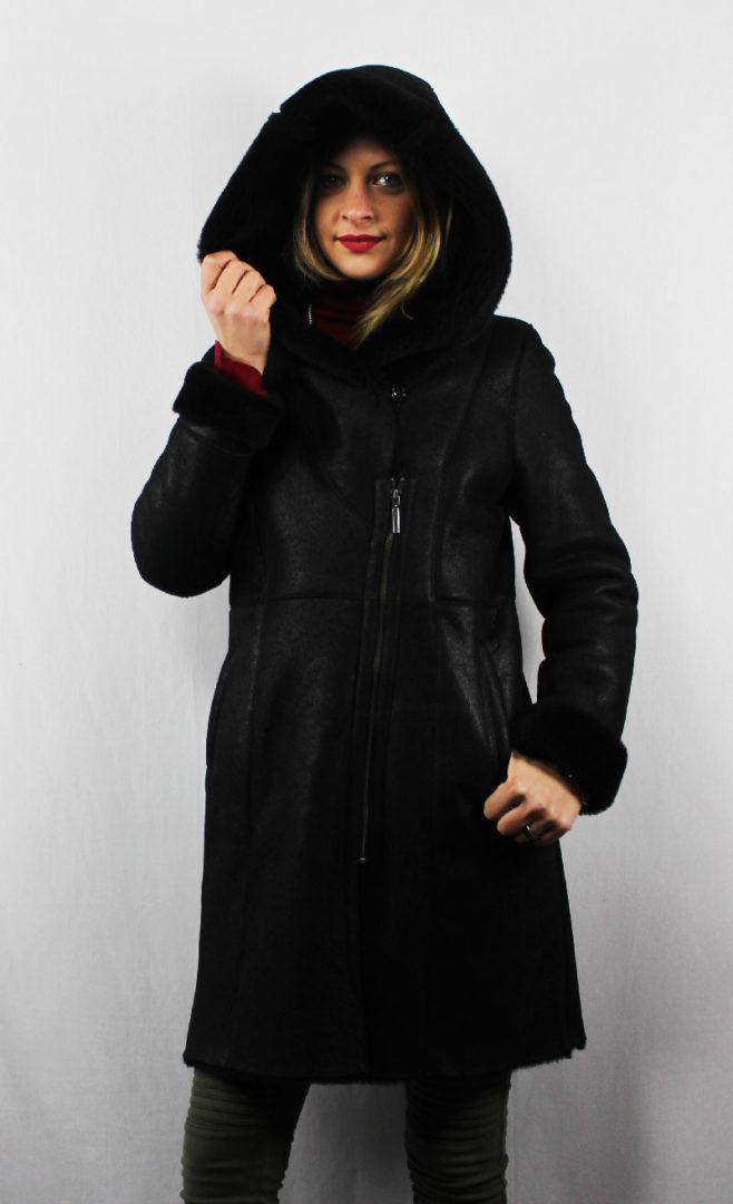 7998dcad526b5b 3 4 peau lainée noir pour femme