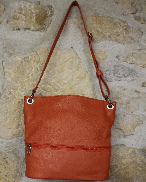 sac à main en cuir orange