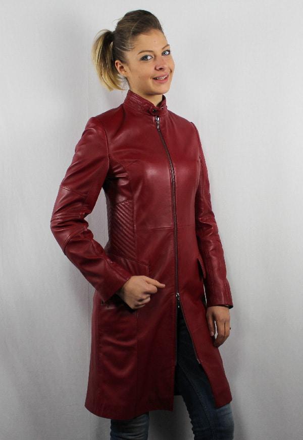 check-out 09e80 0f7d5 Manteau en cuir rouge hermes pour femme