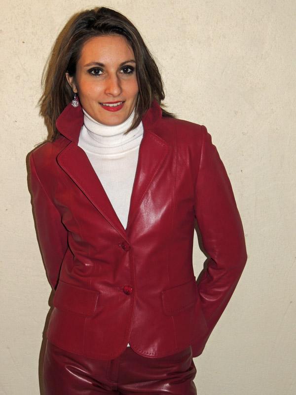 veste blazer en cuir femme
