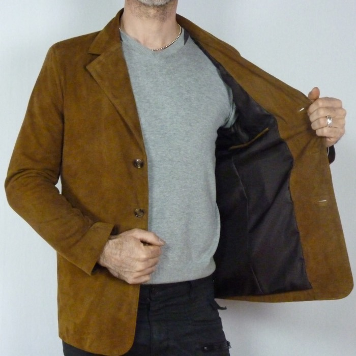 veste blazer en peau retournée classique homme