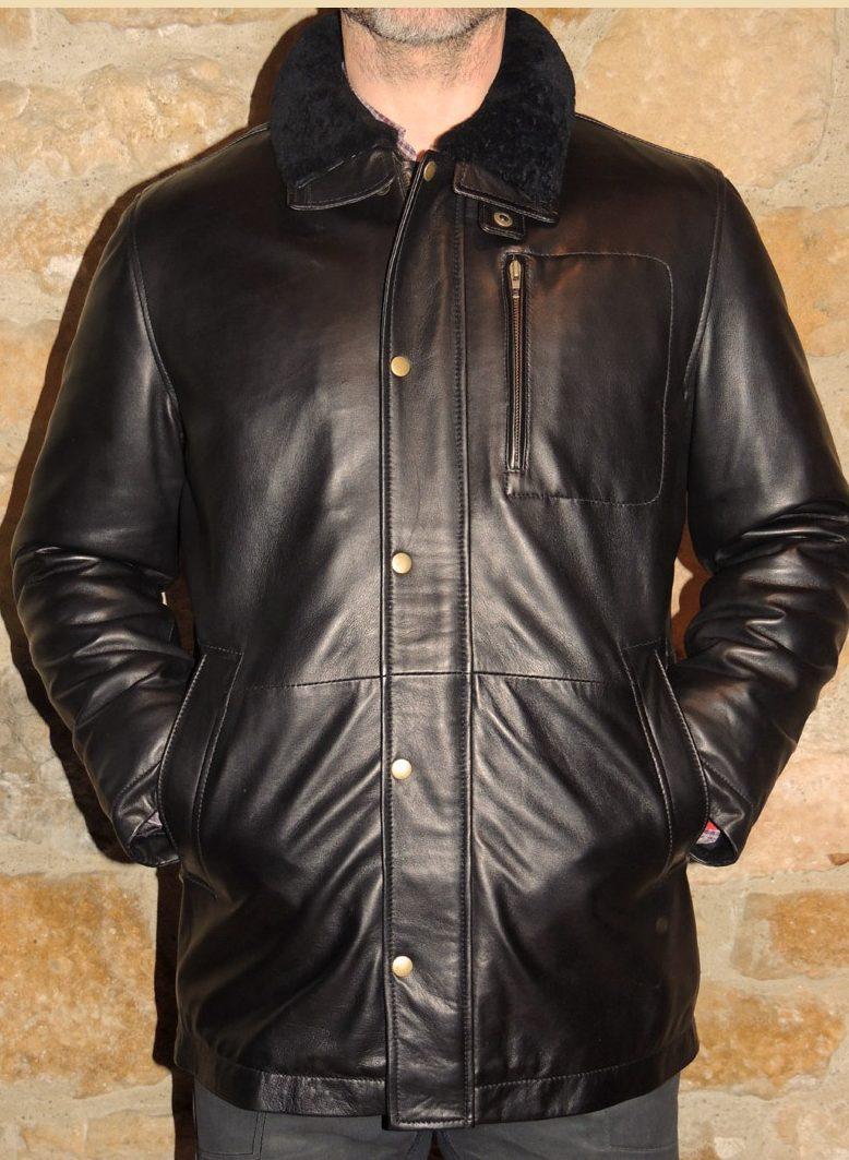 Veste demi longueur en cuir noir pour homme - Itinérance Cuir ... 3d678b85329
