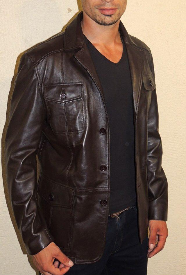 0538d1ae4256 Veste demi-longueur en cuir marron foncé pour homme