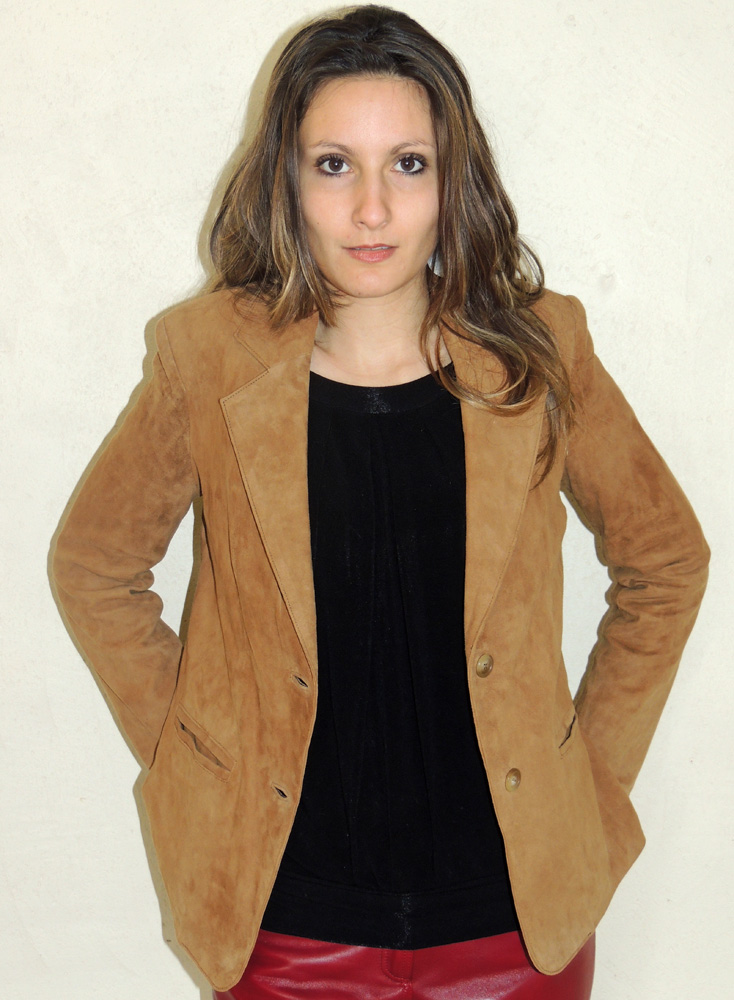 veste style blazer en daim noisette pour femme. Black Bedroom Furniture Sets. Home Design Ideas