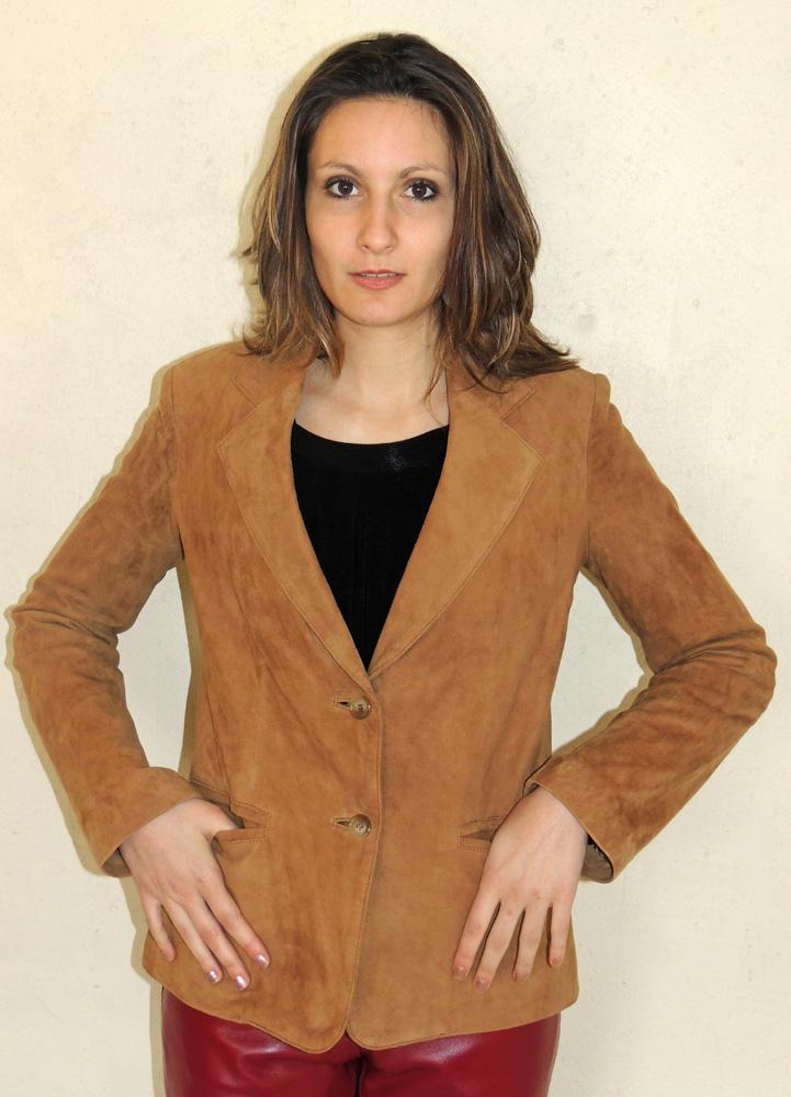 52744169d934a veste style blazer en daim noisette pour femme